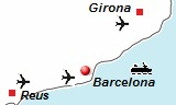 kaart van de vliegvelden van Barcelona