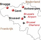 Kaart van de de vliegvelden van Brussel
