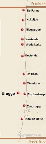 Kaart met de badplaatsen van België