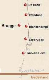 Kaart van de Belgische kust