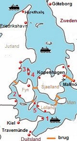 Kaart van Denemarken