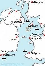 Kaart van Ierland met veerboten