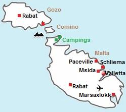 kaart van Malta en Gozo
