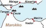 kaart van de havens van Marokko