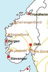 kaart van Fjorden in Noorwegen