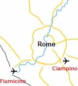 Plattegrond van Rome met vliegvelden